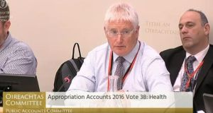 HSE director general John Connaghan before the Public Accounts Committee. Screengrab: Oireachtas.ie