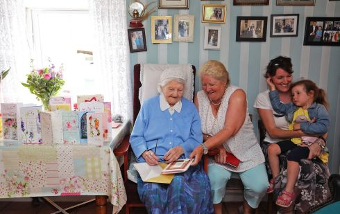 STILL GOING STRONG: Bridget Tierney of Loughduff, Co Cavan, celebrates her 103rd birthday at her home with her daughter Mary, granddaughter Victoria and great-granddaughter Lara. Photograph: Lorraine Teevan