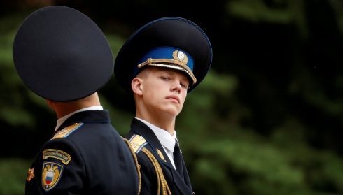 SUPER SUB: Members of the honour guard attend the changing of guards ceremony at the Tomb of the Unknown Soldier by the Kremlin wall in central Moscow. Photograph: Christian Hartmann/Reuters