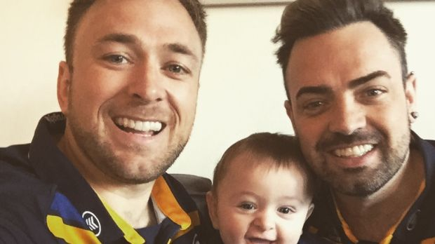 Jay O'Callaghan with his husband, Aaron O'Bryan, and their son, Jake, in Toronto.