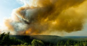 Plumes of smoke billow from the Slieve Bloom mountains as gorse fires continue to burn. Photograph: Tom O'Hanlon