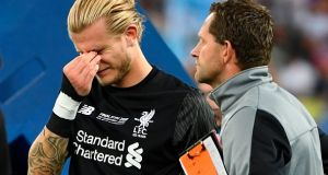 Liverpool's Loris Karius after the Champions League final at the Olympic Stadium in Kiev. Photograph: Getty Images