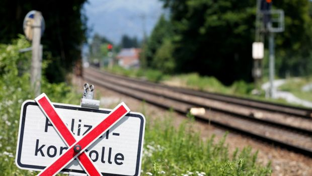 A traffic sign 'Police checkpoint' is seen between Kiefersfelden and the Austrian city Kufstein. Photograph: Reuters/ Michaela Rehle