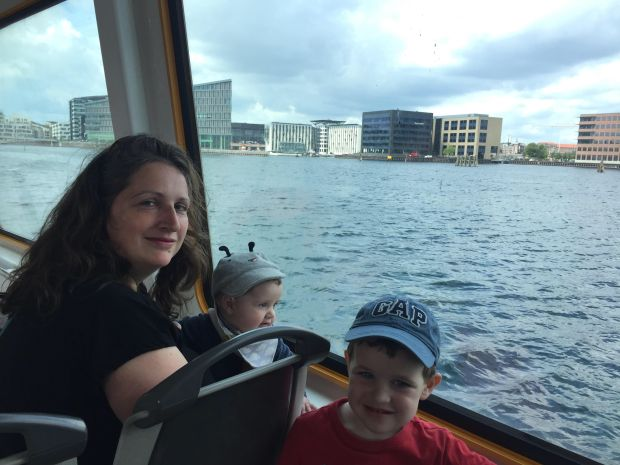 Genevieve, Louis and Arthur on a ferry in Copenhagen.