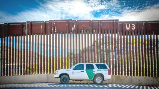 Immigration issue: the border wall in Nogales. Photograph: Dimitros Manis/Sopa/LightRocket via Getty