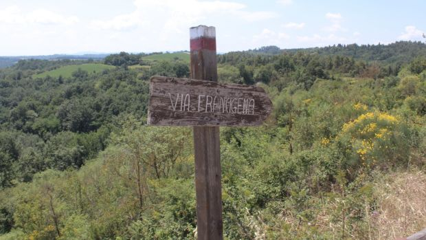 A Via Francigena sign along the way