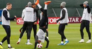 Jesse Lingard trains ahead of England's World Cup quarter-final clash with Sweden. Photograph: Anatoly Maltsev/EPA