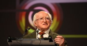 President Michael D Higgins. The details of how he will declare his hand are still uncertain. Photograph: Cyril Byrne