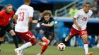 Croatia's Luka Modric, a product of Dinamo Zagreb, in action against Denmark during the last 16 match  the Nizhny Novgorod Stadium. Photograph: Efrem Lukatsky/AP
