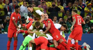 England players celebrate the victory on penalties over Columbia in the last 16 clash. Photograph: Franck Fife/AFP/Getty.