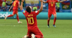 Eden Hazard celebrates Belgium's 2-1 win over Brazil in Kazan. Photograph: Jewel Samad/AFP/Getty