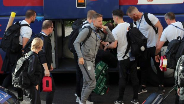 England arrive at their hotel in Samara on Friday. Photo: Getty Images
