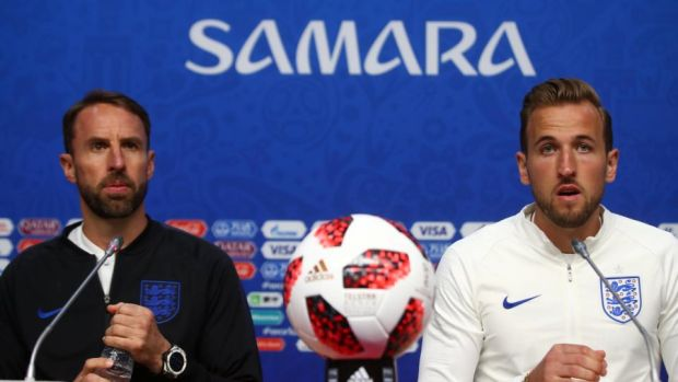 Gareth Southgate and Harry Kane at a press conference ahead of the quarter-final.