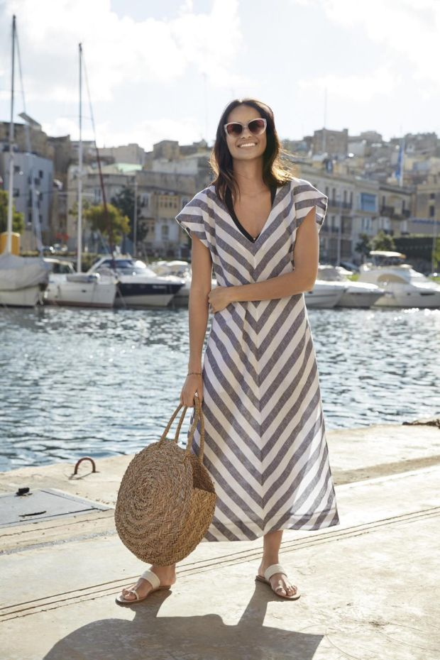 Linen Chevron midi dress, £129, from The White Company.