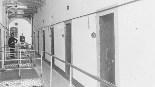Interior of Kilmainham Gaol, circa 1890. Pictured is the 'informants corridor'. Photograph: National Library of Ireland Flickr Commons