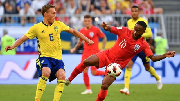 Raheem Sterling in action during England's 2-0 win over Sweden in Samara. Photograph: Yuri Cortez/AFP/Getty