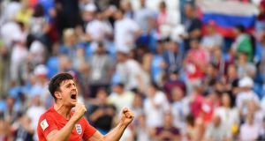England's defender Harry Maguire celebrates at the end of the match. Photograph: Getty Images