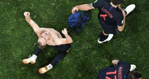 Croatia's defender Domagoj Vida after scoring in extra time. Photograph: Getty Images