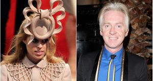 Princess Beatrice wearing a Philip Treacy headpiece. Treacy has said he thought he would end up with his 'head on a spike' for his design. Photograph: PA