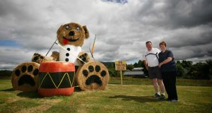 Dermot and Jackie McDonagh with their daughter Rachel's giant teddy bear entry in the Stylish Sileage competition. Photograph: Brian Farrell