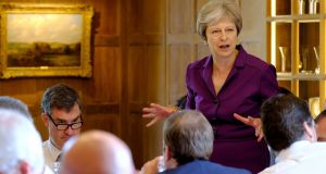 British prime minister Theresa May speaking during her cabinet meeting at Chequers. Photograph: Joel Rouse/PA Wire