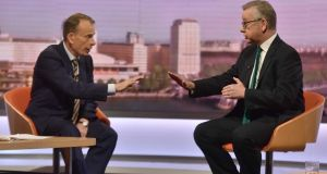 Environment secretary Michael Gove, right, on BBC1's The Andrew Marr Show, urging support for Theresa May. Photograph: Jeff Overs/BBC/PA Wire