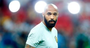 Belgium's assistant coach Thierry Henry looks on before the quarter-final against Brazil. Photograph: Benjamin Cremel/AFP/Getty Images