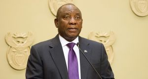 "South African president Cyril Ramaphosa wants to build a   global $100 billion ""investment book"" over the next five years. Photograph: AFP/Getty Images"