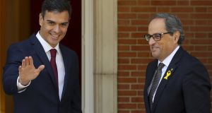 Spanish prime minister, Pedro Sanchez, welcomes Catalan regional president, Quim Torra (right),  at La Moncloa Palace, in Madrid, Spain. Photograph: EPA/Ballesteros