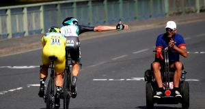 Bora Hansgrohe team riders Peter Sagan of Slovakia (left) and Macus Burghardt of Germany  during the 35.5km team time trial in  Stage Three  of the Tour de France.  Photograph:  EPA/Yoan Valat