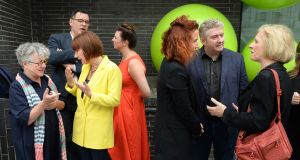 The Minister for Culture Josepha Madigan with Garry Hynes, Druid Theatre at the launch of the  gender policies of 10 Irish theatre organisations. Photograph: Dara Mac Dónaill / The Irish Times