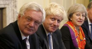 Ruptures aplenty: David Davis (left) is no longer Brexit secretary, and Boris Johnson (centre) is no longer foreign secretary, in Theresa May's cabinet. File photograph: Peter Nicholls/AFP/Getty Images