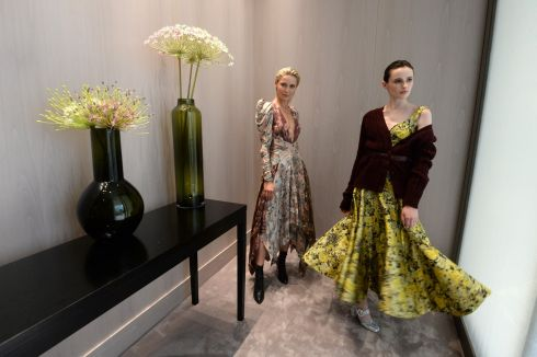 FLOWERY ARRANGEMENTS: Teo Sutra (left), in a Zimmermann dress, and Maria Traynor, wearing an Erdem dress, at the Brown Thomas new Autumn-Winter 2018 collection. Photograph: Cyril Byrne /The Irish Times
