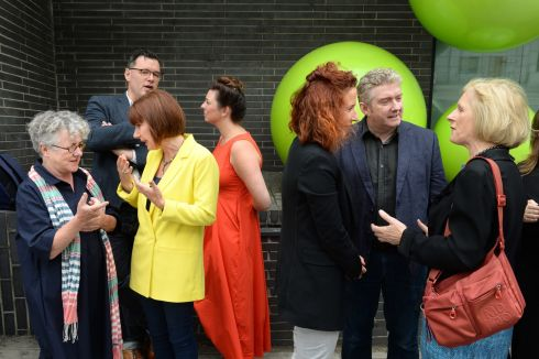 GENDER EQUALITY: Minister for Culture Josepha Madigan (second left) with Garry Hynes of Druid Theatre, after the Minister launched the gender equality policy statements of 10 prominent Irish theatre groups. Also pictured, from left, are Willie White of Dublin Theatre Festival, Julie Kelleher of Everyman Palace Theatre, Seline Cartmell of the Gate Theatre, Jim Culleton of Fishamble: The New Play Company, and Frances Ruane, chairperson of the Abbey Theatre. Photograph: Dara Mac Dónaill/The Irish Times