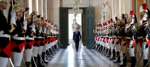 CORRIDOR OF POWER: French president Emmanuel Macron walks through the Galerie des Bustes towards the Versailles Palace hemicycle to address the upper and lower houses of the French parliament, in Versailles, near Paris, France. Photograph: Charles Platiau/Reuters