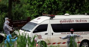 An ambulance departs from Tham Luang cave complex in the northern province of Chiang Rai, Thailand on July 10th, 2018. Photograph: Soe Zeya Tun/Reuters