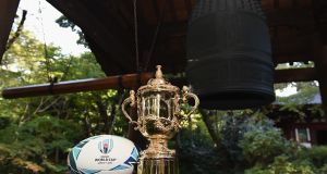The Webb Ellis Cup at Grand Prince Hotel Shin Takanawa in Tokyo, Japan. Photograph: Getty Images