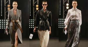 Givenchy tweed coat with brown belt, Gucci leather wrap with white skirt, Erdem silver skirt