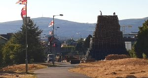 Bloomfield Walkway bonfire in east Belfast on Monday after Belfast City Council asked bonfire builders to reduce its size. Photograph: PA