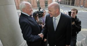 A file image of Michael D Higgins and Seán Gallagher during the 2011 presidential campaign.  Photograph: Eric Luke/The Irish Times.