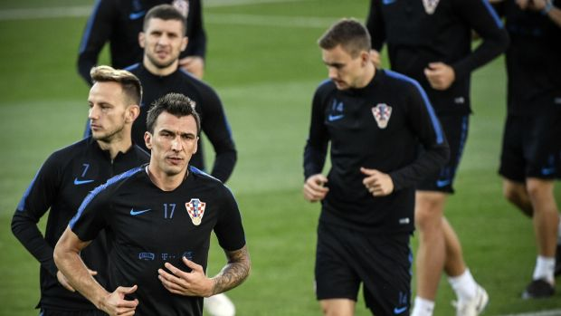 Mario mandzukic (L) is set to lead the line for Croatia against England. Photograph: Alexander Nemenov/AFP/Getty