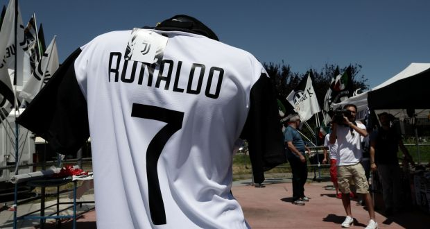 af3f2a909 A picture taken in Turin shows a Cristiano Ronaldo s Juventus T-shirt in a  stand