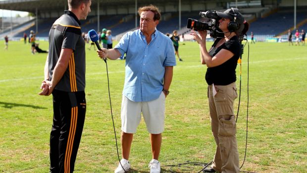 RTÉ's Marty Morrissey interviews Kilkenny selector Diarmuid Lyng after the game at Semple Stadium. Photograph: ©INPHO/James Crombie
