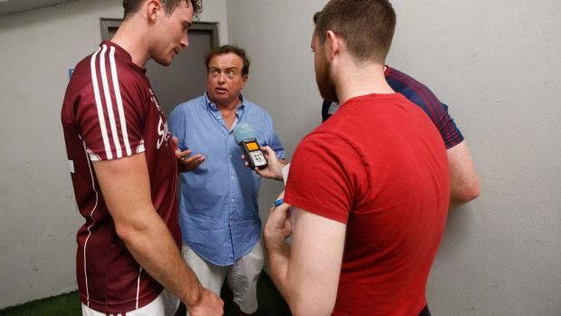 IMarty Morrissey and Aindriu De Paor, production assistant RTÉ Radio, speak to Conor Cooney and John Hanbury after the game at Semple Stadium. Photograph: ©INPHO/James Crombie