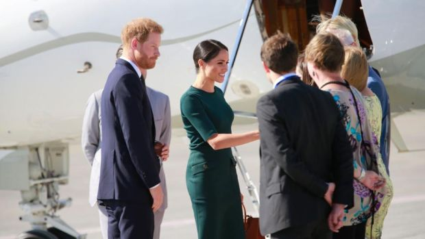 The Duke and Duchess of Sussex arrive at Dublin Airport on Tuesday on their first royal engagement overseas as a married couple. Photograph: Nick Bradshaw/The Irish Times.