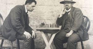 "Aloys Fleischmann (left) playing chess in Oldcastle Camp, Co Meath. He was interned as an ""enemy alien"" during the first World War."