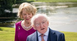 President  Michael D Higgins and his wife Sabina Higgins at the National Museum of Ireland - Country Life in Turlough, Co. Mayo. Photograph: Keith Heneghan