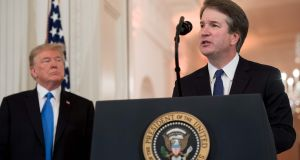 US Judge Brett Kavanaugh speaks after being nominated by US president Donald Trump to the supreme court in the East Room of the White House on Monday. Photograph: Saul Loeb/AFP/Getty Images