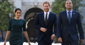 Prince Harry and Meghan Markle with Taoiseach Leo Varadkar in Dublin. Photograph: Clodagh Kilcoyne/Reuters