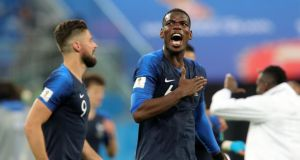 Paul Pogba of France celebrates victory following their 2018 World Cup semi-final clash with Belgium in St Petersburg. Photo: Alexander Hassenstein/Getty Images